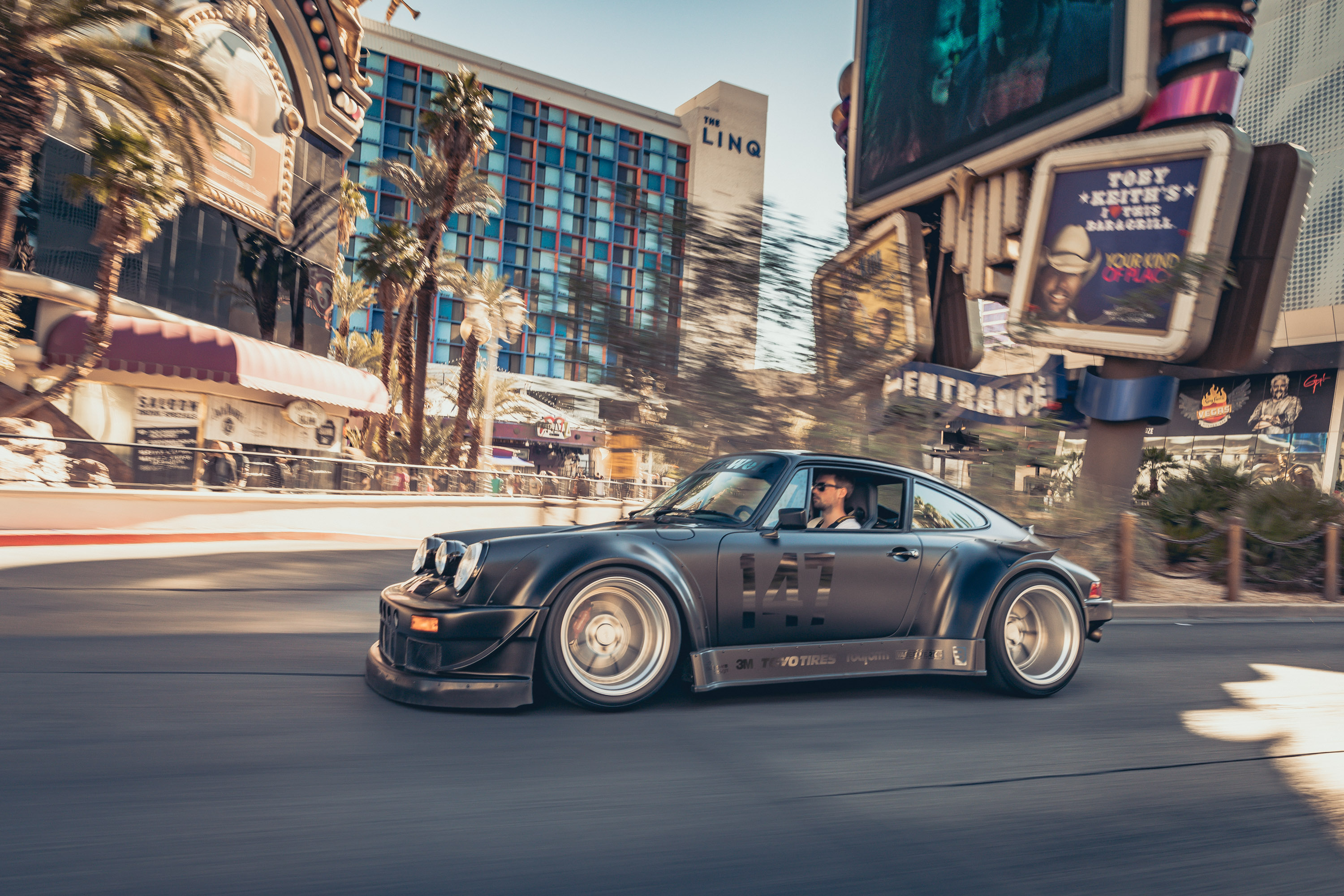 Rolling shot of the Need for Speed Porsche 964 driven by BBC Top Gear